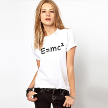 Geek Style E = MC 2 Letter Print Women T-shirt White 100% Cotton Soft Woman Tee Skateboard Top Girl Tshirt Printed Clothing