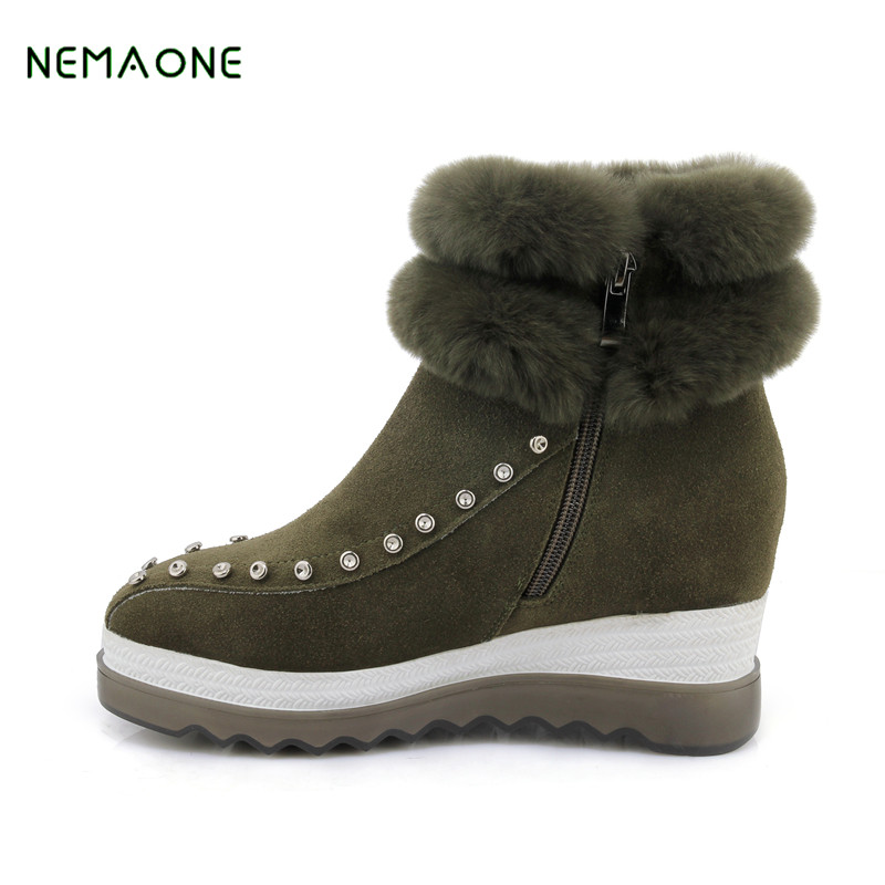 NEMAONE Free Shipping Top Quality Women's Genuine Sheepskin Leather Snow Boots Natural Wool Fur Snow Boots Warm Winter Boots