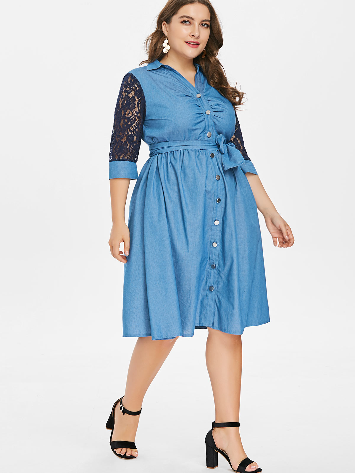 0b2499e72c4 Aliexpress.com   Buy Wipalo Plus Size Lace Sleeve Button Up Denim Dress  2018 Summer Lace Up Turn Down Collar Cowboy 3 4 Length Sleeves Big Size 5XL  from ...