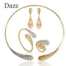 Dazz Unique Water Drop Shape Jewelry Sets For Women Girls Brass Three Color Choker Necklace Dangle Earrings Ring Bracelet Set