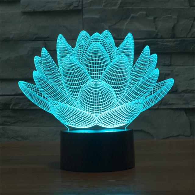 Hot 2016 3D lotus Decoração LED Nightlight presentes de natal para crianças Bulbificação VR de ficção científica de lótus Lâmpada de Mesa-3D-TD32