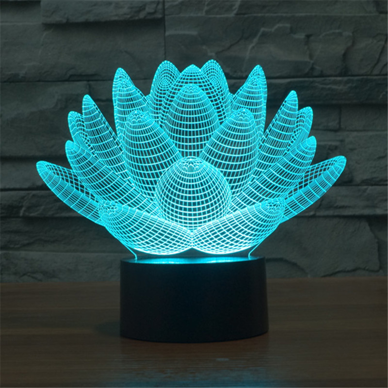 Hot 2016 3D lotus Home Decoration LED Nightlight children s holiday gifts Bulbing lotus font b