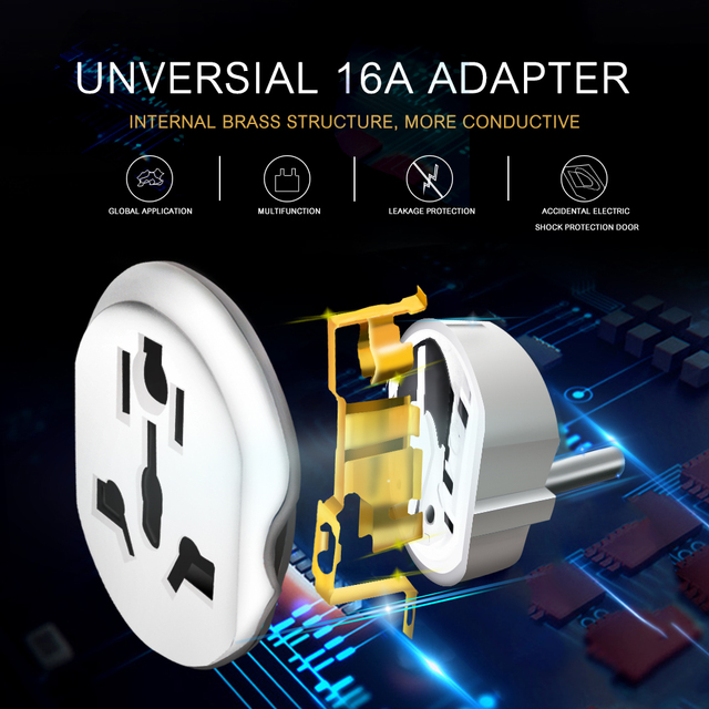 Best 16A Universal EU Travel Adapter Euro Converter UK US AU to EU AC Power Socket Plug Travel Charger Adapter Converter 250V 2