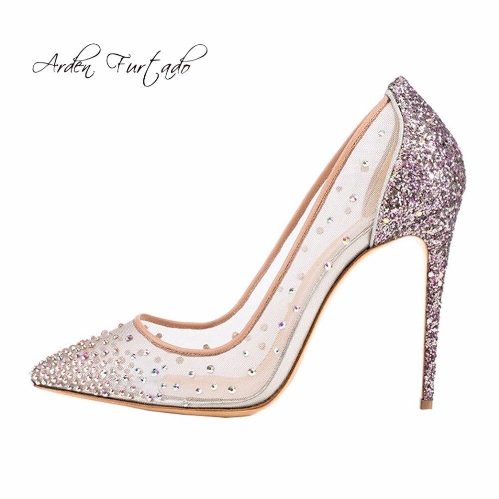 e180d392a8770 Arden Furtado new 2018 spring summer high heels 12cm stilettos bling bling  crystal clear mesh pumps wedding party shoes big size