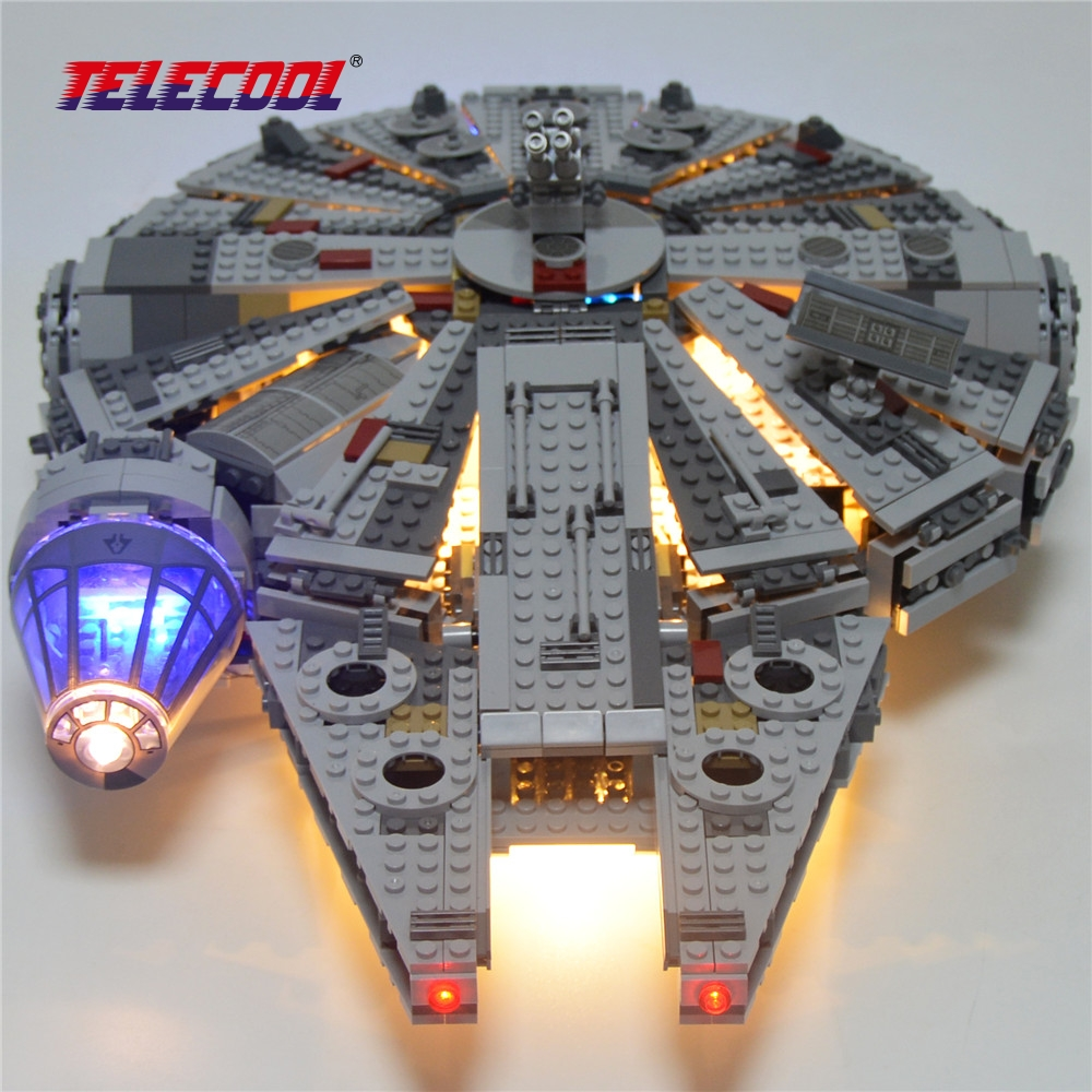 TELECOOL LED Light Block (Only light set) For Star Wars The Force Awakens Millennium Falcon Model Rey BB-8 Lepin 05007 75105
