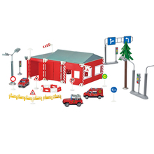 DIY Fire-Rescue Station Model Set With Three Pull-back Alloy Car ABS Plastic Puzzle Educational Toys Building Kits