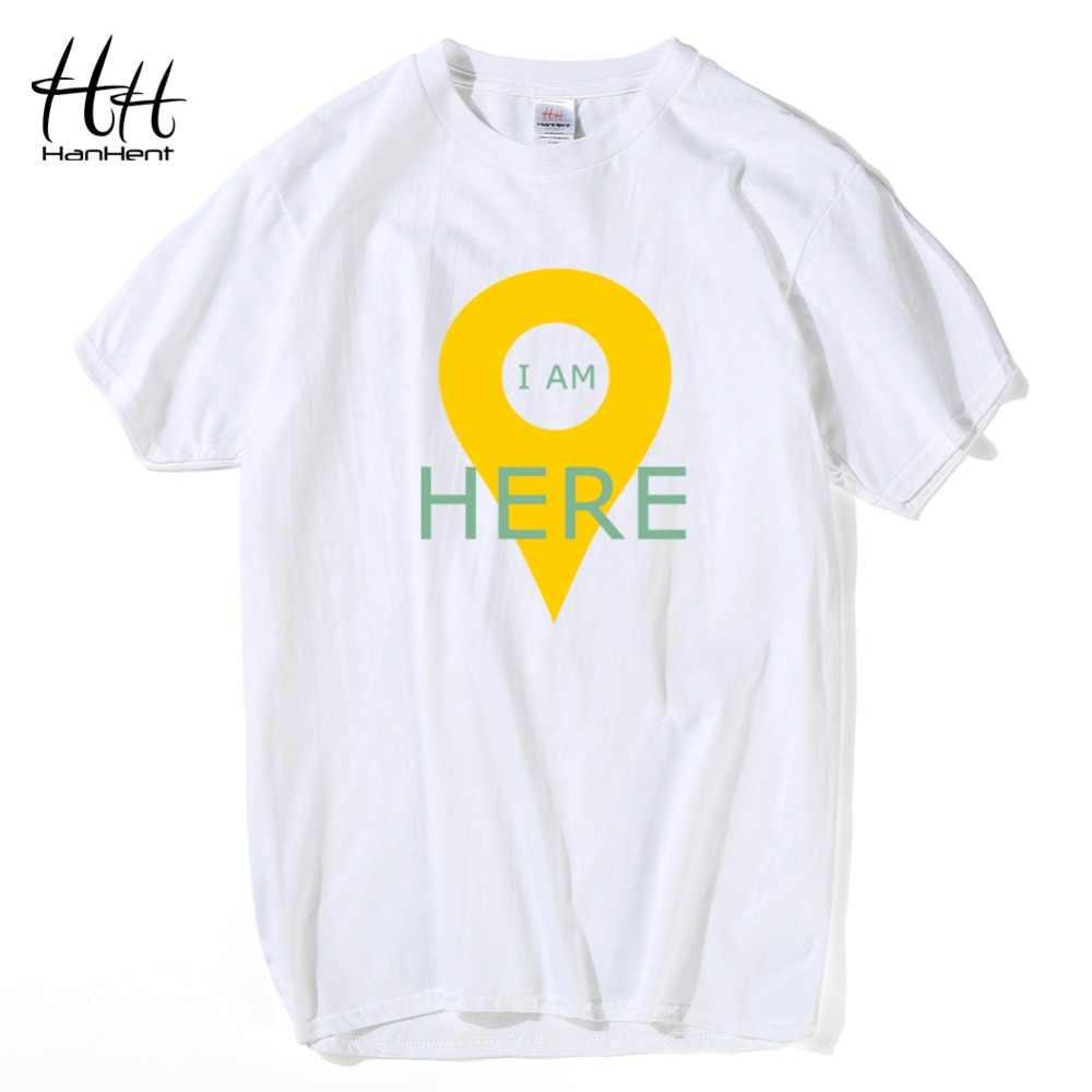 HanHent GPS konumlandırma erkek t-shirt yaratıcı pamuk komik Tshirt erkek kısa kollu yaz Tee gömlek Geeks T shirt erkekler