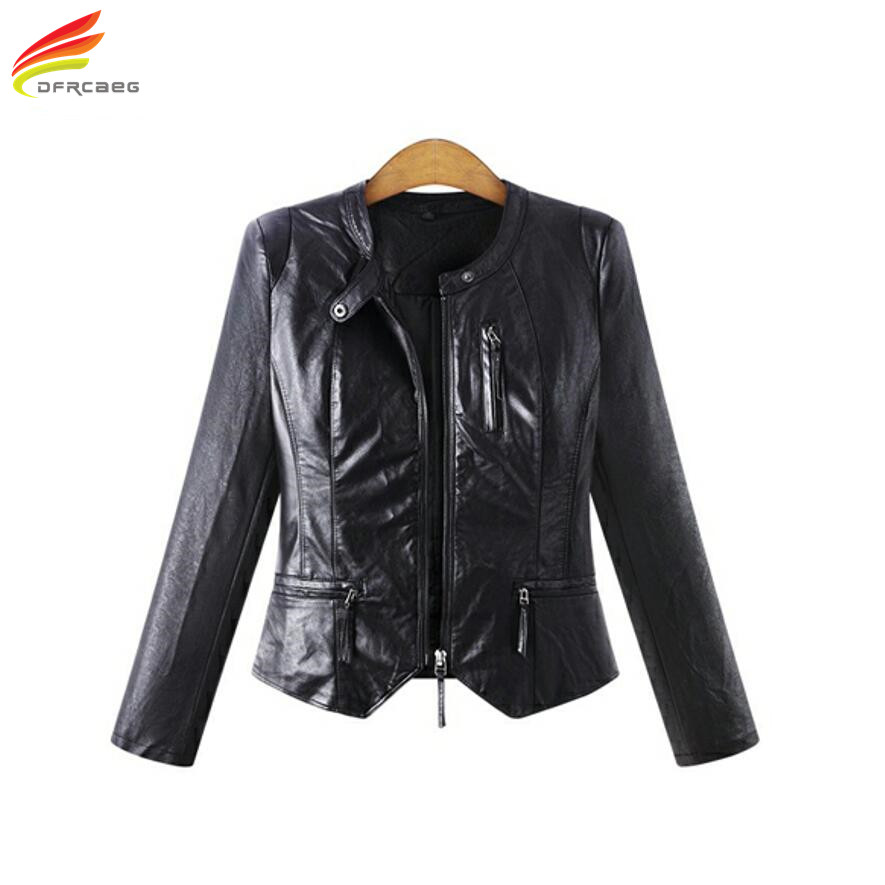 Winter Women PU Leather Jackets Casual Big Size Outerwear Black Long Sleeve Women Basic Jacket Coats