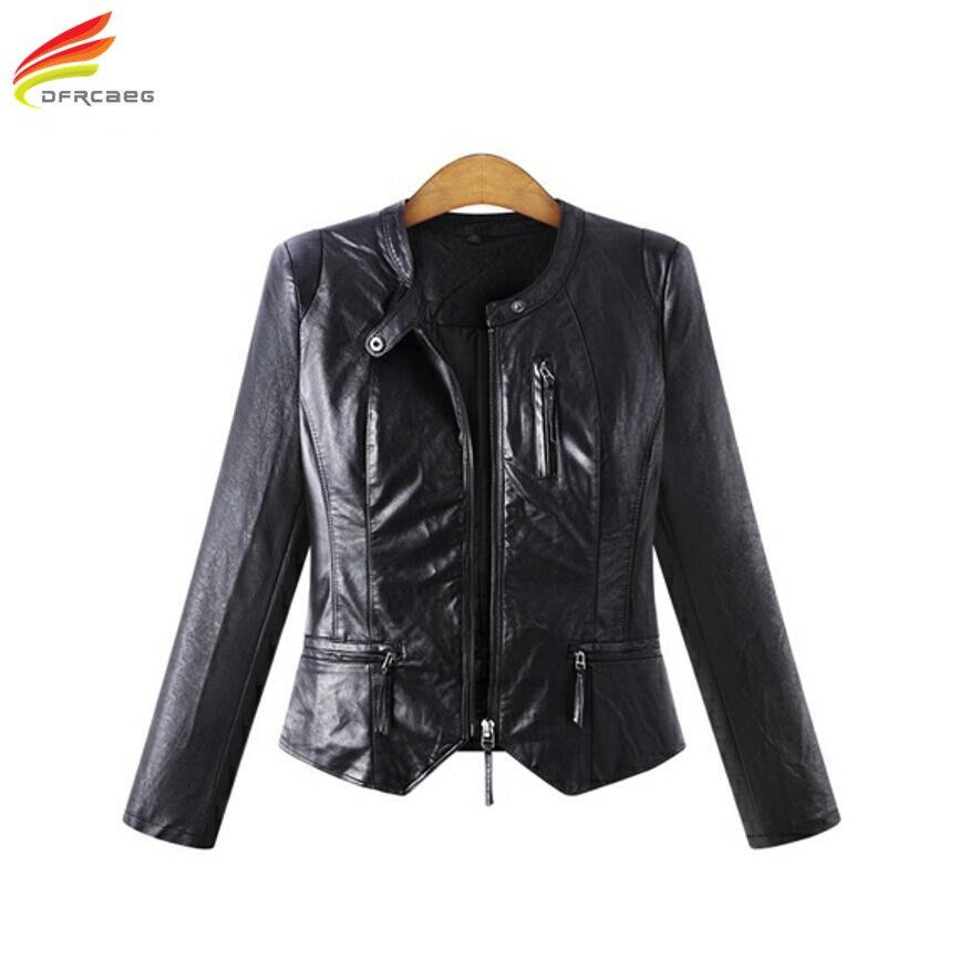 Winter Women PU Leather   Jackets   Casual Big Size Outerwear Black Long Sleeve Women   Basic     Jacket   Coats Plus Size Women Clothing