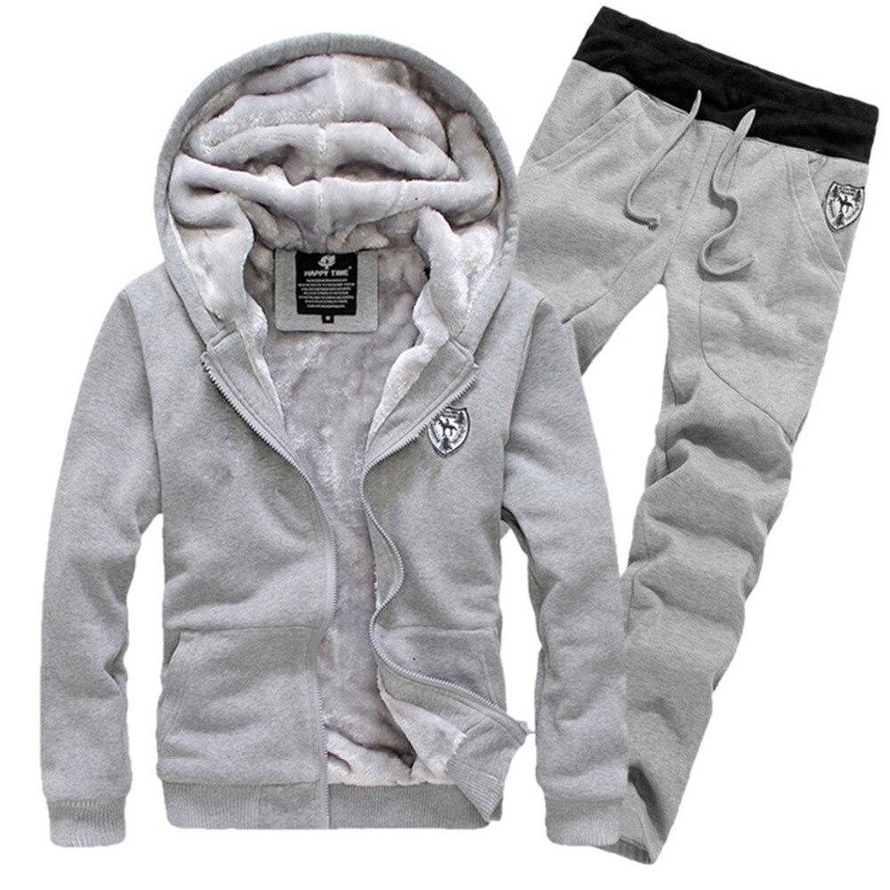 Thick Fashion Warm Velvet Men's Hoodie Tracksuits Set Men Sportwear Winter Grey Red Black M-3XL (Asian Size) Jacket Coat + Pants