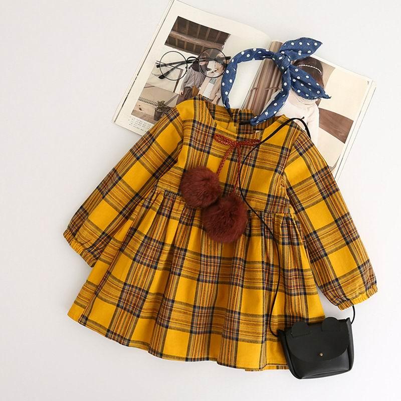 2017 Autumn Girls Dress England Style Yellow Plaid Fur Ball Bow Design Baby Princess -6352