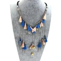 TrinketSea Bohemian Leather Choker Colorful Silk Tassel Layered Necklace For Women New Style Fashion Charm Jewelry