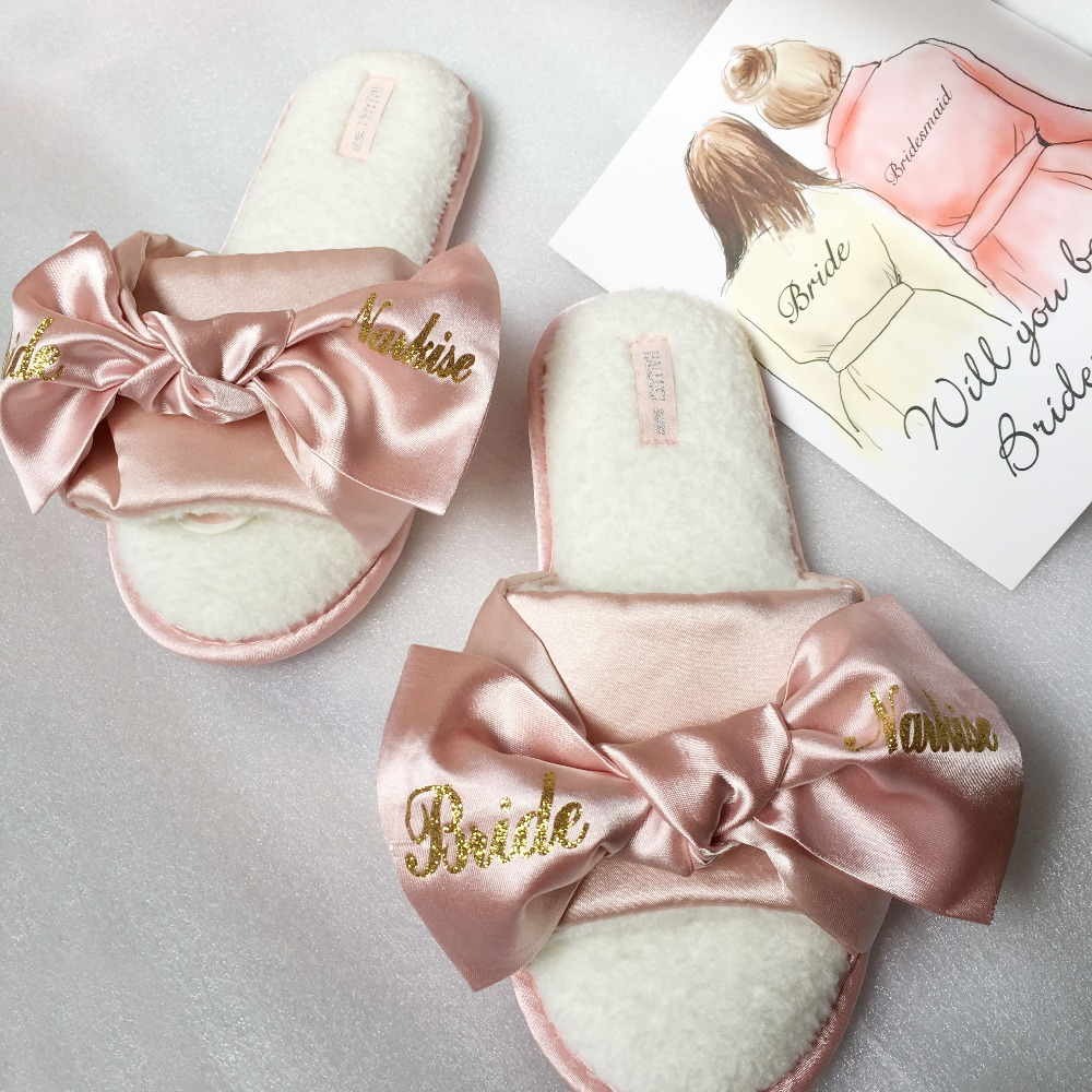 1a3e626857c6f US $69.0 |4pairs lot printing logo pink dark blue Bride Satin slippers  wedding bridal hen party gifts personalized bridesmaid gift-in Party Favors  ...