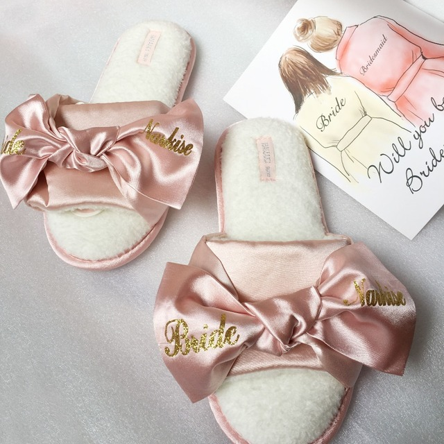 4pairs Lot Printing Logo Pink Dark Blue Bride Satin Slippers Wedding Bridal Hen Party Gifts Personalized