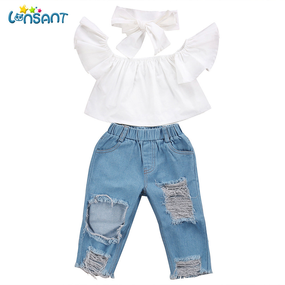 LONSANT New 2018 Summer Baby Girls Off shoulder Crop Tops + Hole Denim Pant Jean Headband Toddler Solid Hot Kids ClothesLONSANT New 2018 Summer Baby Girls Off shoulder Crop Tops + Hole Denim Pant Jean Headband Toddler Solid Hot Kids Clothes