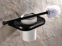 Home Bathroom Toilet Bowl Cleaning Brush And Caddy Brush Holder Set Black Oil Rubbed Brass Toilet