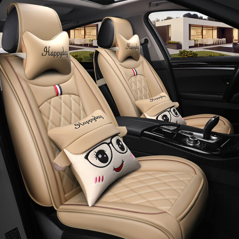 leather car seat covers protector auto cushion cartoon lumbar for nissan rouge livina note pathfinder patrol y61 primera qashqai