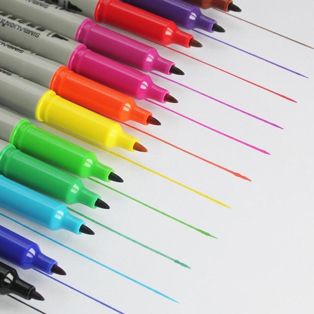 12 sztuk SIMBALION 12 kolory podwójny z markerem z długopis na bazie oleju Marker permanentny artykuły papiernicze artykuły biurowe szkolne materiały malarskie dostawy nowy