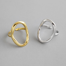 HFYK 2019 Gold Hollow Ellipse Ring 925 Sterling Silver Rings For Women Jewelry bague femme anillos plata para mujer