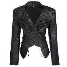 Casual Plus Size Gothic Winter Chic Jackets Women PU Overcoats Slim Plain Rivet Zipper Autumn Outwear Cool Black Female Coats