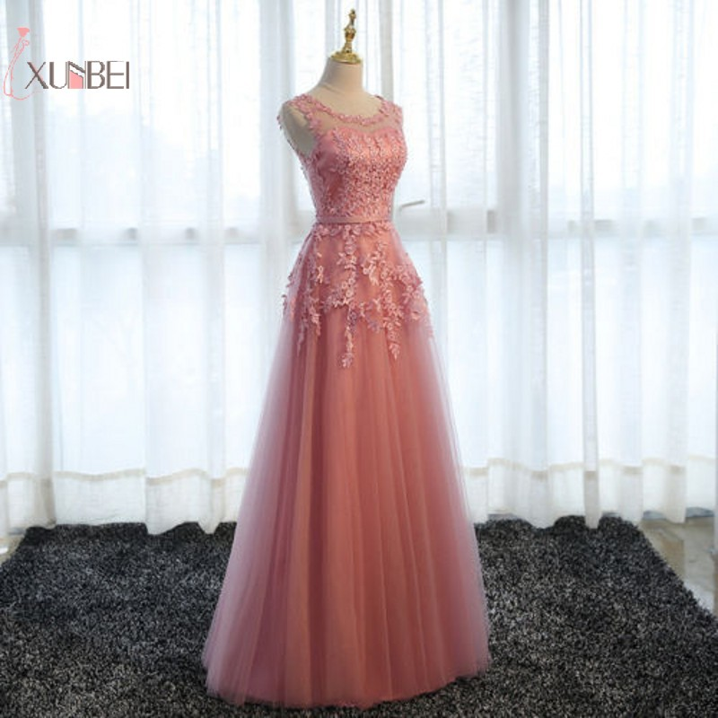 Sexy Applique Pearl Elegant Long   Prom     Dresses   2019 A line Tulle Sleeveless   Prom   Gown gala jurken vesti de festa gala   dress