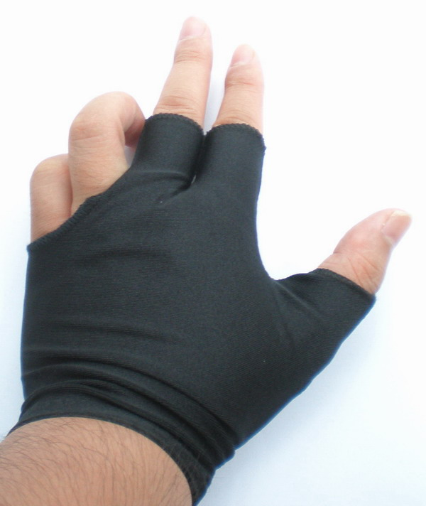 NEW 2pcs black Pool snooker Billiard table glove 3-finger shooter short One size fits all 85