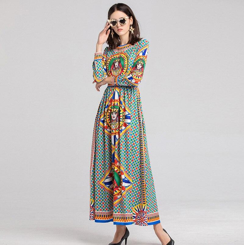 Maxi Géométrique Longue Printemps Vintage Manches Robes Taille À Imprimé Haute Femmes H6319 As Élégant Show Longues Robe dhxBtrCosQ