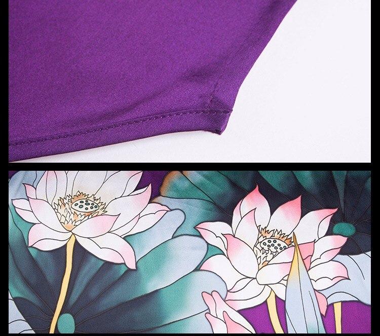 Шелковое Атласное Платье женское шелковое платье натуральный шелк свободный размер Ручная роспись платье домашнее платье фиолетовое