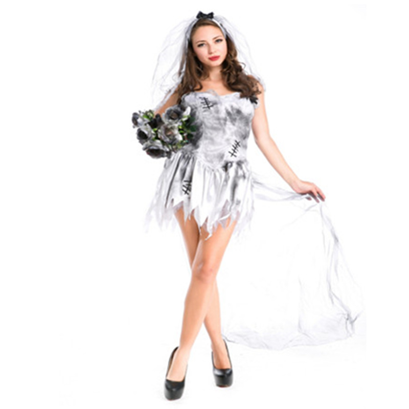 Fancy Woman's <font><b>Halloween</b></font> Masquerade Zombie Cosplay Costumes <font><b>Sexy</b></font> Woman's Vampire Ghost Bride <font><b>Disfraces</b></font> image