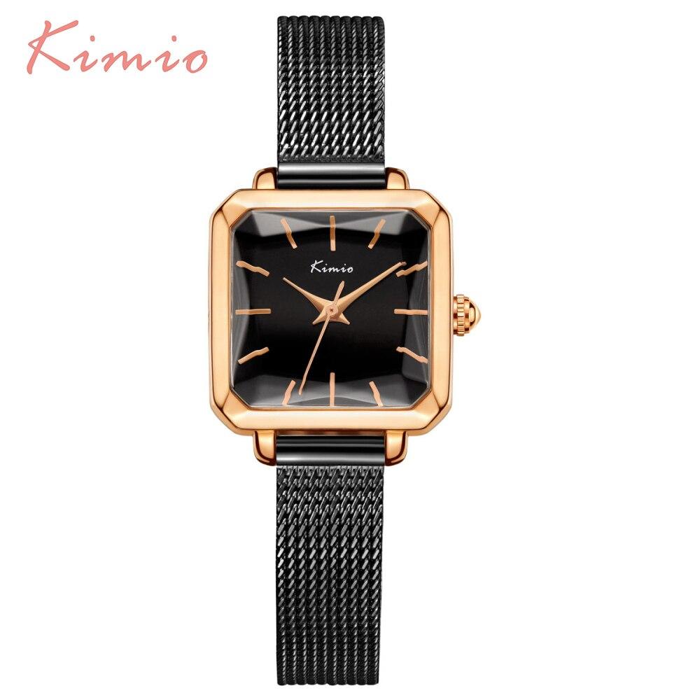 Luxury Brand KIMIO Square Women Watches Milan Mesh Black Stainless Steel Womens Bracelet Watches Laides Wrist Quartz Watch New