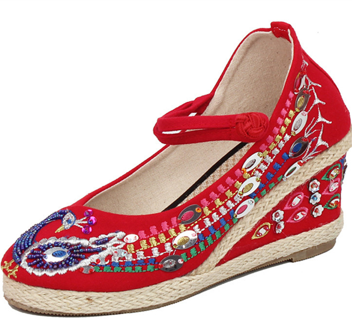 Women/' s Shoes Sandals Beijing style Jane Embroidered Wedge Cotton+Linen Summer