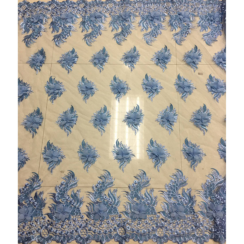 New arrival fancy pattern factory price net Lace SC21 High Quality 3D Appliqued mesh lace High class Nigeria party fabric
