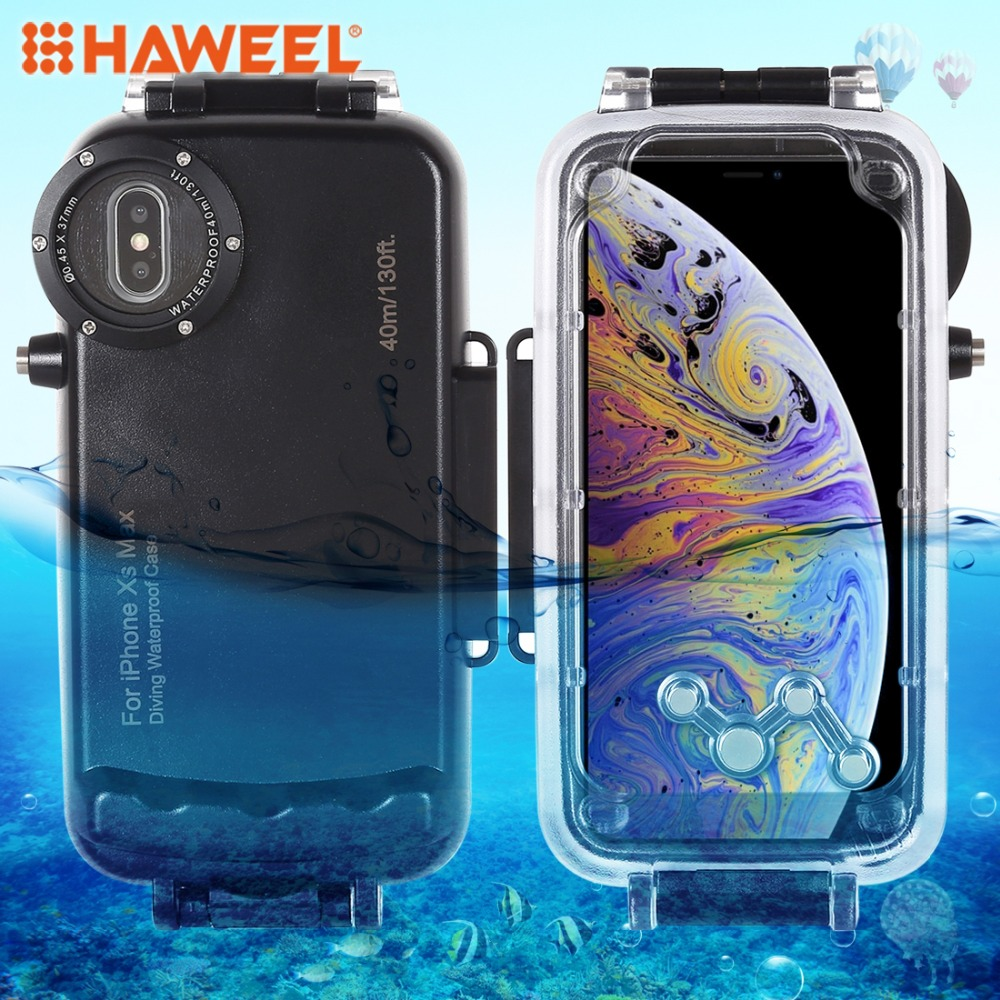 HAWEEL Diving Housing For iPhone XS Max Case 40m 130ft Waterproof Diving Housing Photo Video Taking