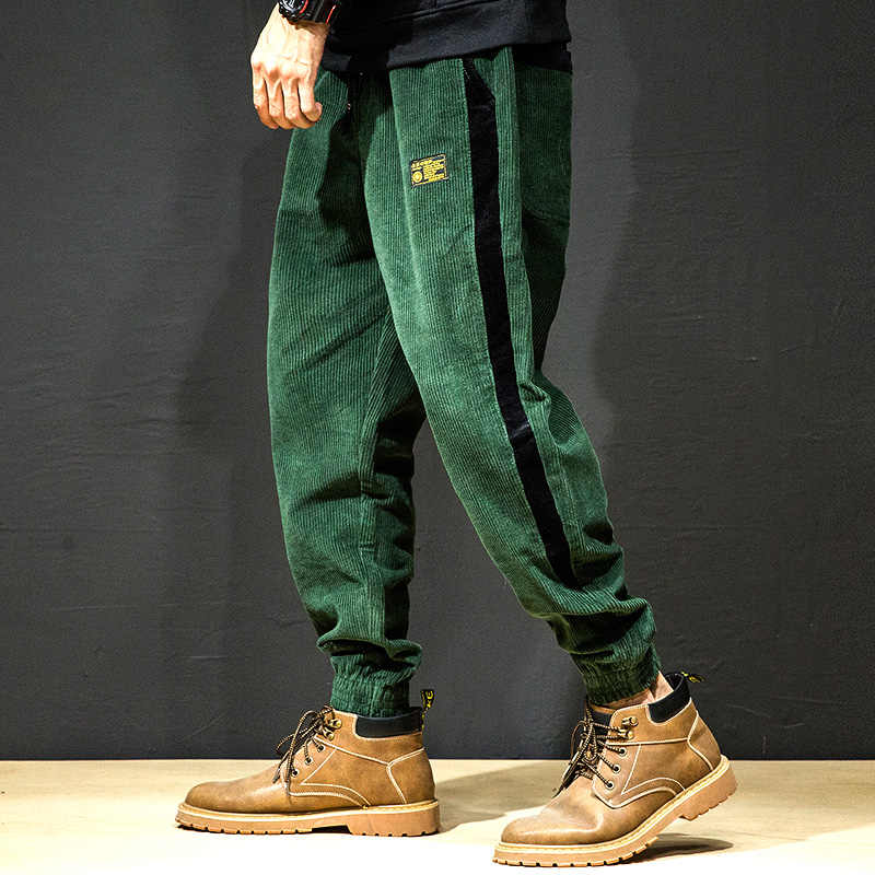 499ffc0b Baggy Corduroy Pants Men Fashion Hip Hop Harem Pants Harajuku Joggers  Sweatpant Striped Vintage Japanese Streetwear Men Clothing