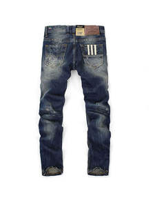 Balplein Ripped Jeans Color-Printed Dark-Blue Straight Fashion Brand Famous Men 100%Cotton