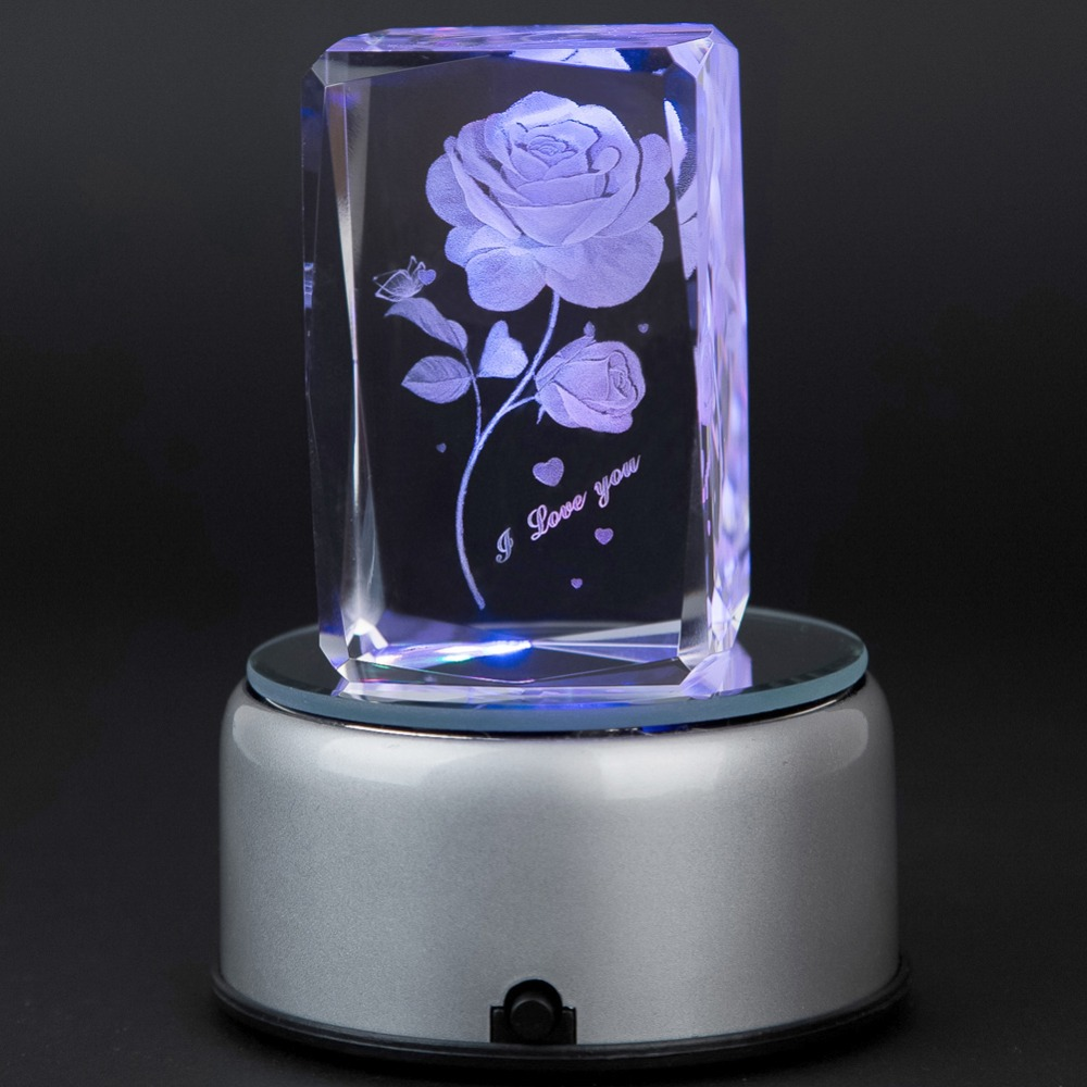 Valentines Day Gift 3D Laser Crystal Subsurface Engraved