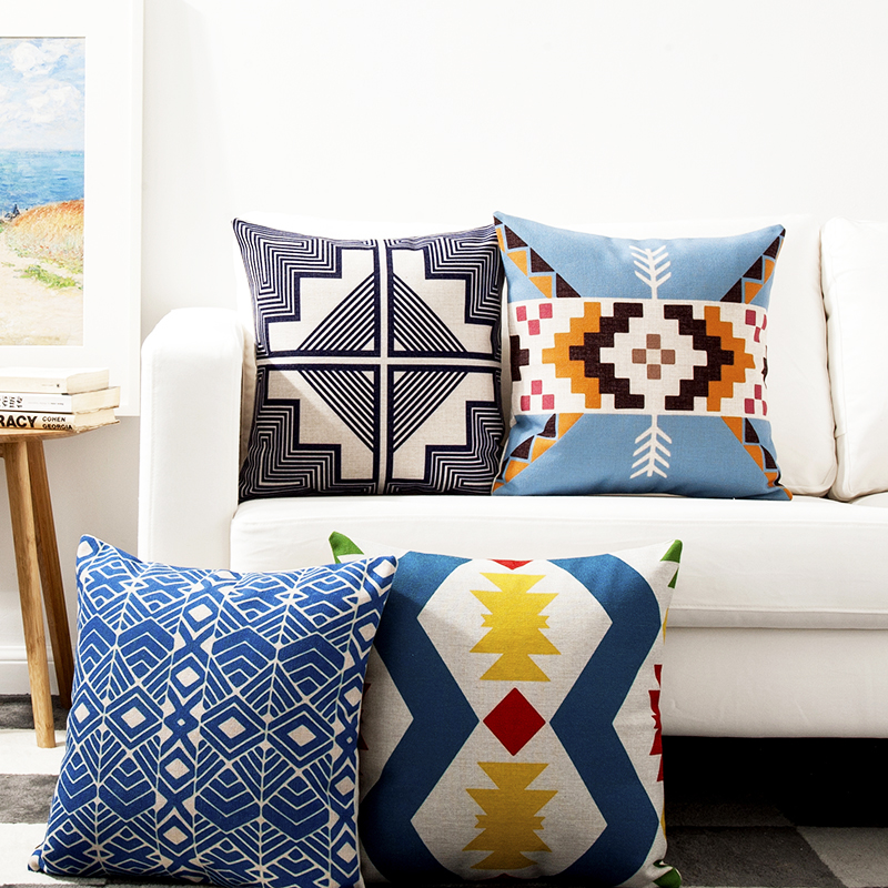 Kilim Geometric Linen Cotton Pillow Cover Home Decor Cushions Cover Decorative Throw Pillows ...