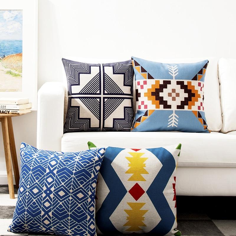 Small Decorative Pillows Home : Kilim Geometric Linen Cotton Pillow Cover Home Decor Cushions Cover Decorative Throw Pillows ...