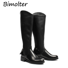 Bimolter  High Quality Mid-Calf Boots Women Soft Genuine Leather Knee Winter Comfortable Long Shoes NA018