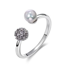 Nice Rings for women Romatic style White Color CZ setting Rings Lead Free Cute Simulated Pearl Ring fashion jewelry anillo