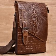 цена на Men Crossbody Bags Oil Wax Cowhide Crocodile Head Shoulder Bags Genuine Leather Bags Retro Handbags