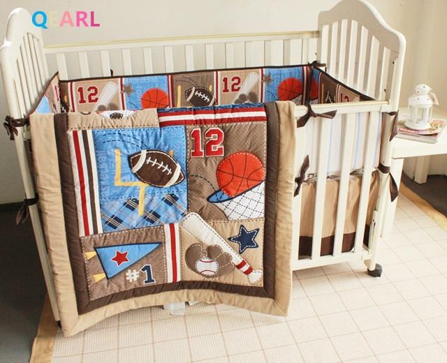 Printing Embroidery Basketball Football Baseball Pattern Baby Bedding Set Quilt Per Mattress Cover 6pcs Crib