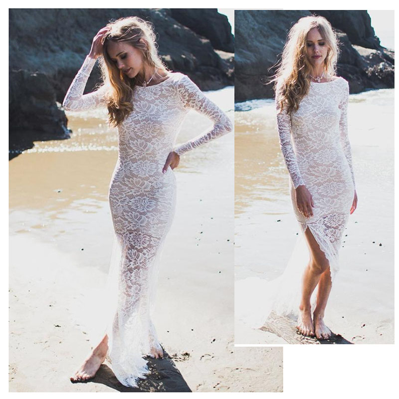 LORIE Boho Wedding Dress Side Split Long Sleeves Lace Mermaid White Ivory Beach Bridal Gown Wedding Gown Sexy Bride Dresses 2019