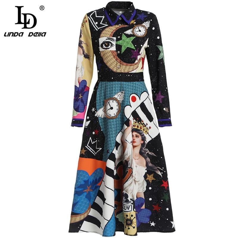 Image 5 - LD LINDA DELLA Autumn Fashion Designer Dress Women's Long Sleeve Gorgeous Printed Midi Slim Vintage Dress Lady vestido-in Dresses from Women's Clothing