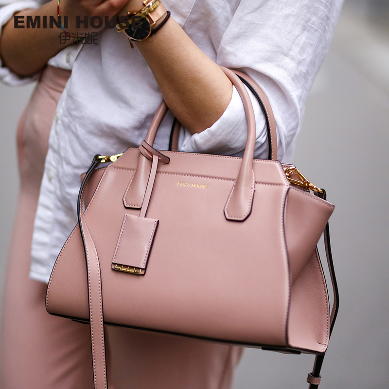 цена на EMINI HOUSE Split Leather Shoulder Bag Fashion Trapeze Women Messenger Bags Handbag Women Famous Brands Crossbody Bags For Women