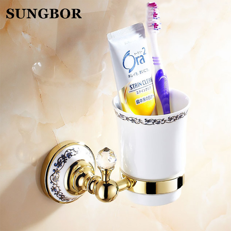 Antique Brass Cup & Tumbler Holders Brass Wall Mounted Toothbrush single Cup Holder Bathroom Accessories rose gold black chrome
