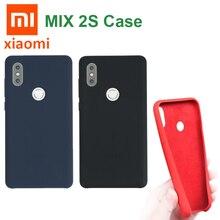 Original Xiaomi MI MIX 2S Case Liquid Silicone Case Xiaomi Soft fiber back Cover Cases solid MI MIX2S ultra strong shockproof