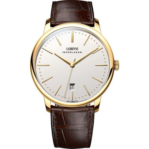 LOBINNI mężczyźni biznes wodoodporny mody prosty styl automatyczne self wiatr mechaniczne zegarek na rękę skórzany pasek w Zegarki mechaniczne od Zegarki na  Grupa 1