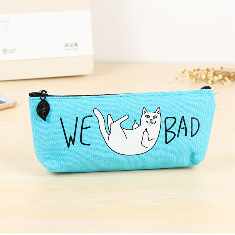 BECODE Student Canvas Pencil Case Blue Cartoon Blame Cat Stationery Bag Boy Girl Large Capacity Pencilcase Kids School Supplies