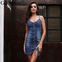 Glamaker Sexy bodycon denim dress women Lace up backless casual jeans dress Irregular slim summer dress mini vestido de festa